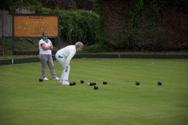 Joan checks for the shot in Ladies Drawn Pairs